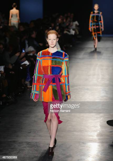 A model walks the runway at the Altuzarra fashion show during MercedesBenz Fashion Week Fall 2014 at Spring Studios on February 8 2014 in New York...