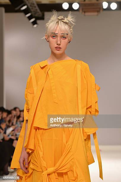 A model walks the runway at the Angel Chen show at Fashion Scout during London Fashion Week Spring/Summer 2016 on September 18 2015 in London England