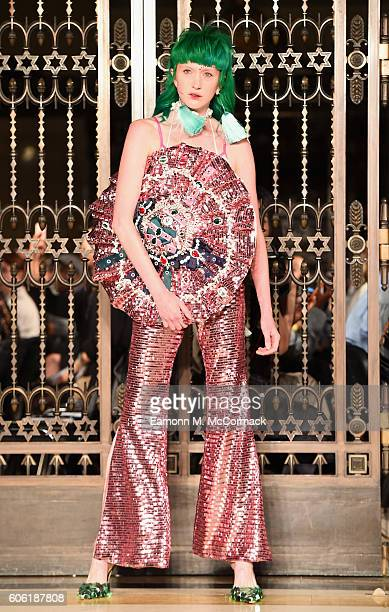 A model walks the runway at the Angel Chen show at Fashion Scout during London Fashion Week Spring/Summer collections 2017 on September 16 2016 in...