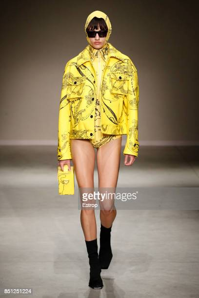 A model walks the runway at the Angel Chen show during Milan Fashion Week Spring/Summer 2018 on September 20 2017 in Milan Italy