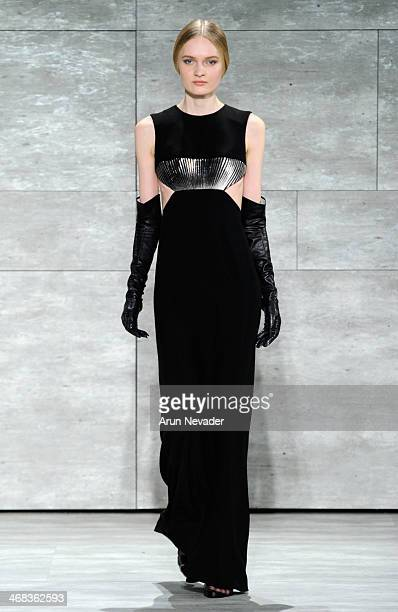 A model walks the runway at the Angel Sanchez fashion show during MercedesBenz Fashion Week Fall 2014 at The Pavilion at Lincoln Center on February...