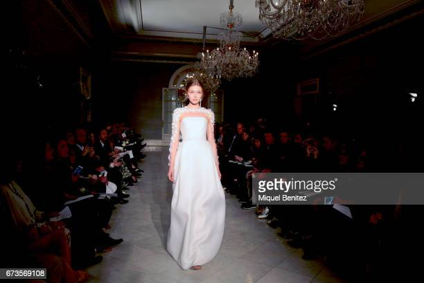 A model walks the runway at the Angel Sanchez show during Barcelona Bridal Night during Barcelona Bridal Fashion Week 2017 at the Palau de Pedralbes...