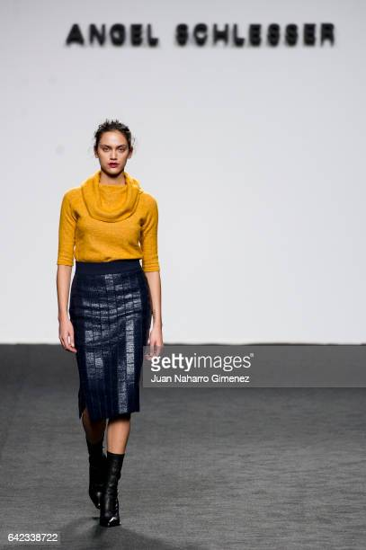 A model walks the runway at the Angel Schlesser show during the MercedesBenz Madrid Fashion Week Autumn/Winter 2017 at Ifema on February 17 2017 in...
