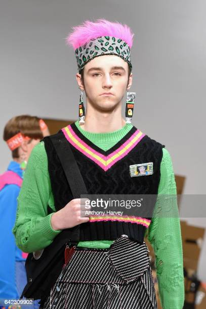A model walks the runway at the Angus Chiang show at Fashion Scout during the London Fashion Week February 2017 collections on February 17 2017 in...