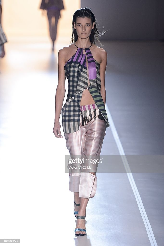 A model walks the runway at the Animale show during Sao Paulo Fashion Week Spring Summer 2013/2014 on March 18, 2013 in Sao Paulo, Brazil.
