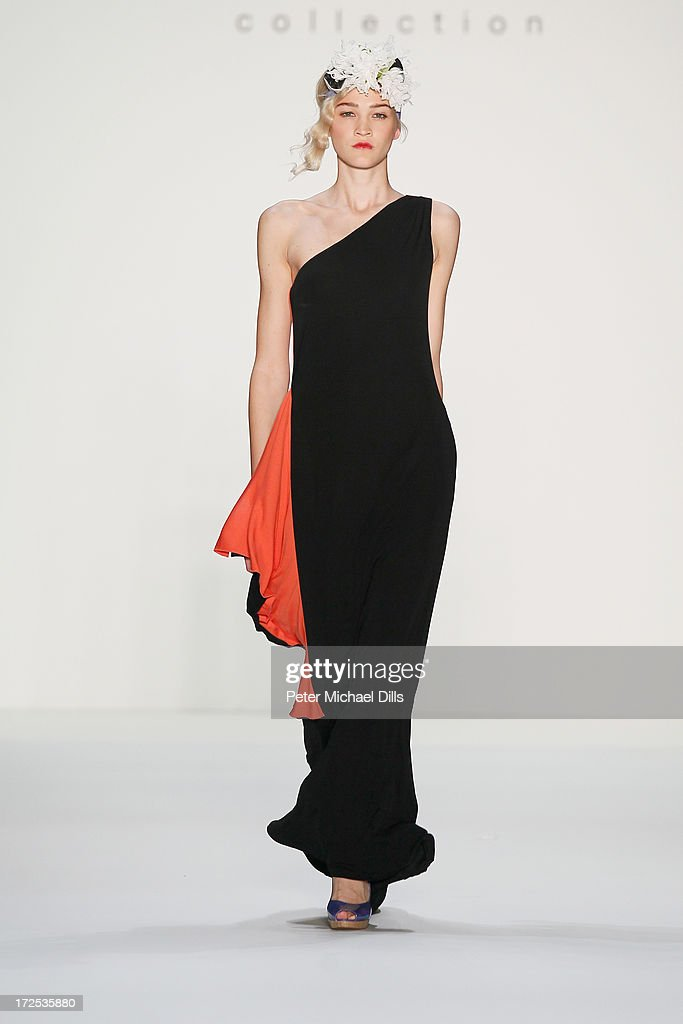 A model walks the runway at the Anja Gockel show during Mercedes-Benz Fashion Week Spring/Summer 2014 at Brandenburg Gate on July 3, 2013 in Berlin, Germany.