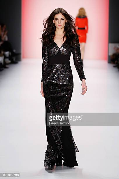 A model walks the runway at the Anja Gockel show during the MercedesBenz Fashion Week Berlin Autumn/Winter 2015/16 at Brandenburg Gate on January 20...