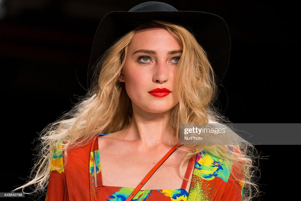 A model walks the runway at the Anja Gockel show during the Mercedes-Benz Fashion Week Berlin Spring / Summer 2017 at Erika Hess Eisstadion in Berlin, Germany on June 29, 2016.