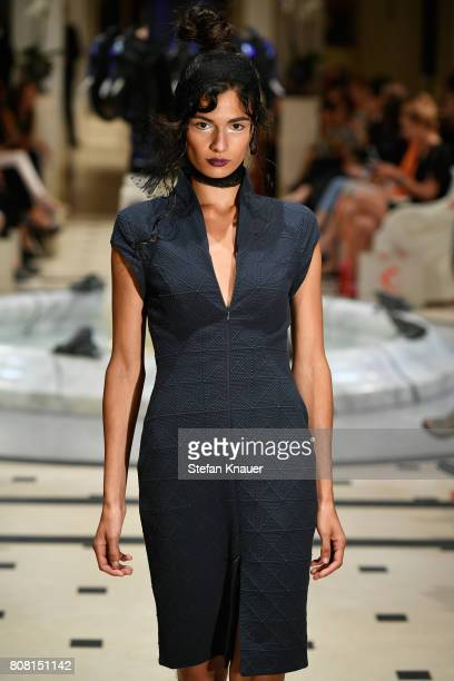 A model walks the runway at the Anja Gockel show during the MercedesBenz Fashion Week Berlin Spring/Summer 2018 at Hotel Adlon on July 4 2017 in...