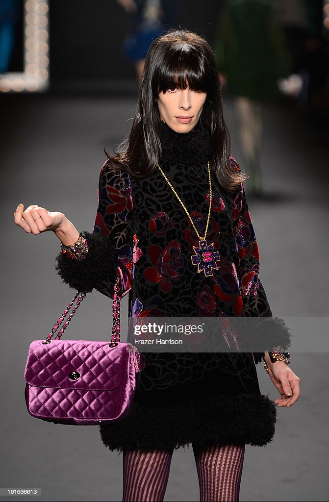 A model walks the runway at the Anna Sui Fall 2013 fashion show during Mercedes-Benz Fashion Week at The Theatre at Lincoln Center on February 13, 2013 in New York City.