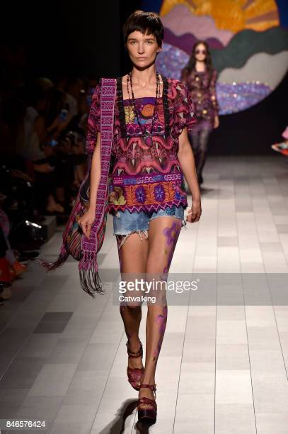 A model walks the runway at the Anna Sui Spring Summer 2018 fashion show during New York Fashion Week on September 11 2017 in New York United States