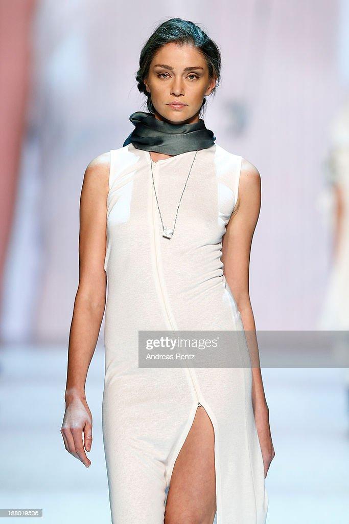 A model walks the runway at the Annabelle Award finalists show during Mercedes-Benz Fashion Days Zurich 2013 on November 14, 2013 in Zurich, Switzerland.