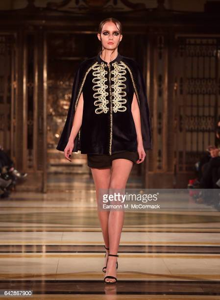 A model walks the runway at the Annderstand show during the London Fashion Week February 2017 collections on February 19 2017 in London England