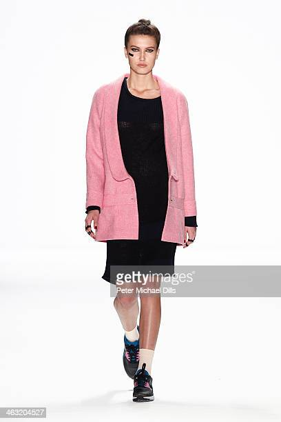 A model walks the runway at the Anne Gorke show during MercedesBenz Fashion Week Autumn/Winter 2014/15 at Brandenburg Gate on January 17 2014 in...