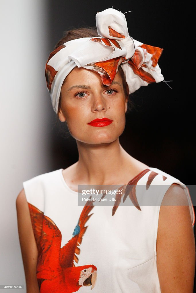 A model walks the runway at the Anne Gorke show during the MercedesBenz Fashion Week Spring/Summer 2015 at Erika Hess Eisstadion on July 11 2014 in...