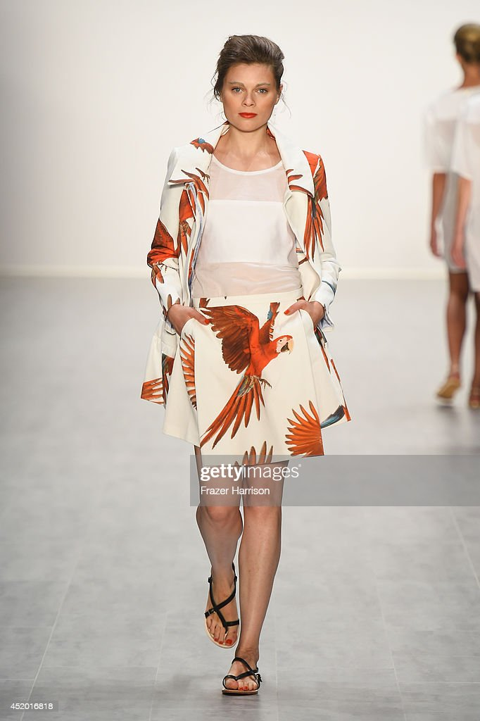 A model walks the runway at the Anne Gorke show during the Mercedes-Benz Fashion Week Spring/Summer 2015 at Erika Hess Eisstadion on July 11, 2014 in Berlin, Germany.