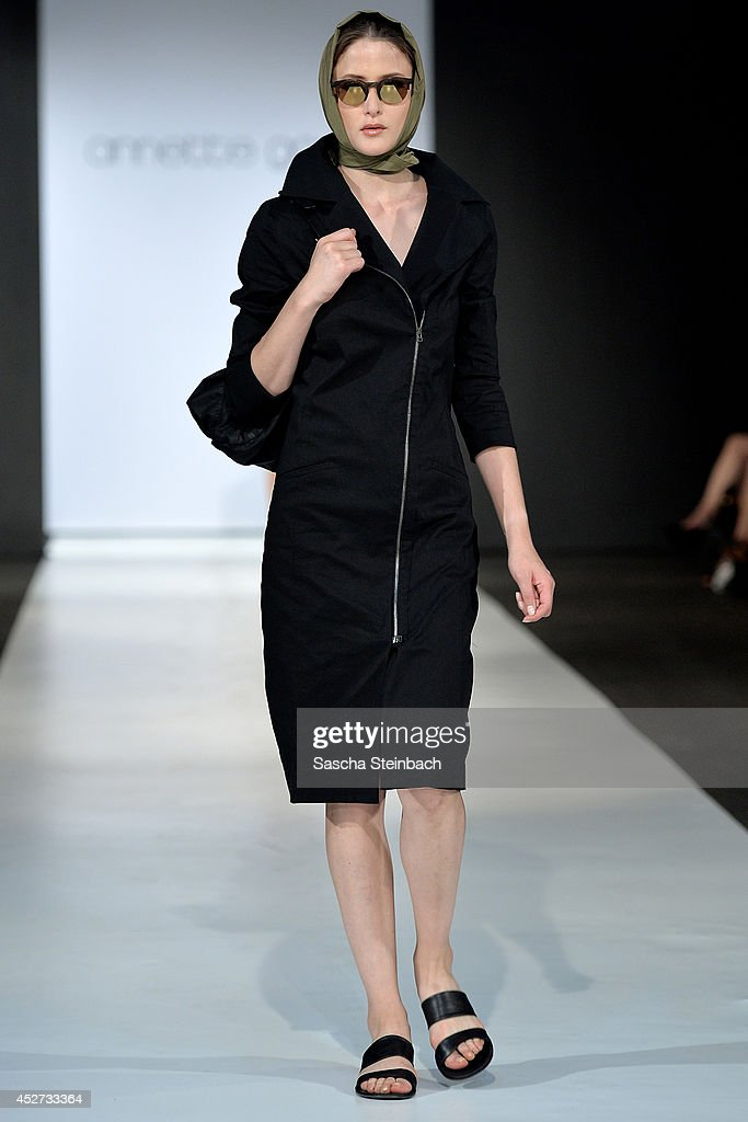 A model walks the runway at the Annette Goertz Show during Platform Fashion Duesseldorf on July 26, 2014 in Duesseldorf, Germany.
