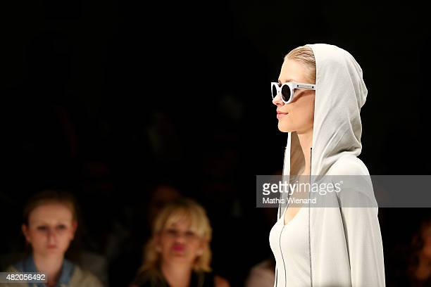 A model walks the runway at the Annette Goertz show during Platform Fashion July 2015 at Areal Boehler on July 26 2015 in Duesseldorf Germany