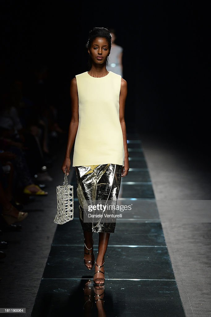 A model walks the runway at the Anteprima fashion show during as a part of Milan Fashion Week Womenswear Spring/Summer 2014 on September 19, 2013 in Milan, Italy.