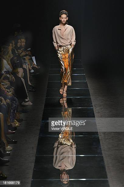 A model walks the runway at the Anteprima fashion show during as a part of Milan Fashion Week Womenswear Spring/Summer 2014 on September 19 2013 in...
