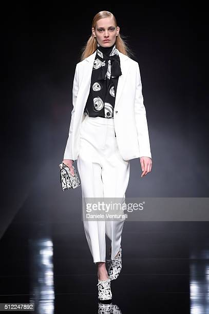 A model walks the runway at the Anteprima show during Milan Fashion Week Fall/Winter 2016/17 on February 25 2016 in Milan Italy
