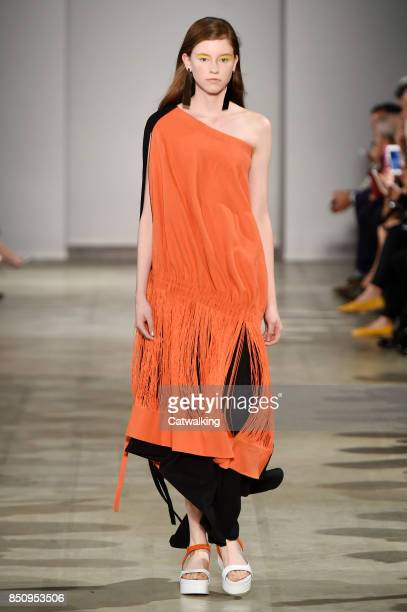 A model walks the runway at the Anteprima Spring Summer 2018 fashion show during Milan Fashion Week on September 21 2017 in Milan Italy