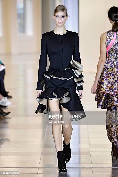 A model walks the runway at the Antonio Berardi Autumn Winter 2015 fashion show during London Fashion Week on February 23 2015 in London United...