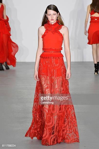 A model walks the runway at the Antonio Berardi Autumn Winter 2016 fashion show during London Fashion Week on February 22 2016 in London United...
