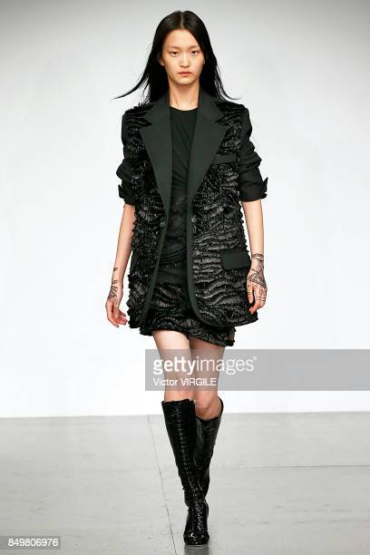 A model walks the runway at the Antonio Berardi Ready to Wear Spring/Summer 2018 fashion show during London Fashion Week September 2017 on September...
