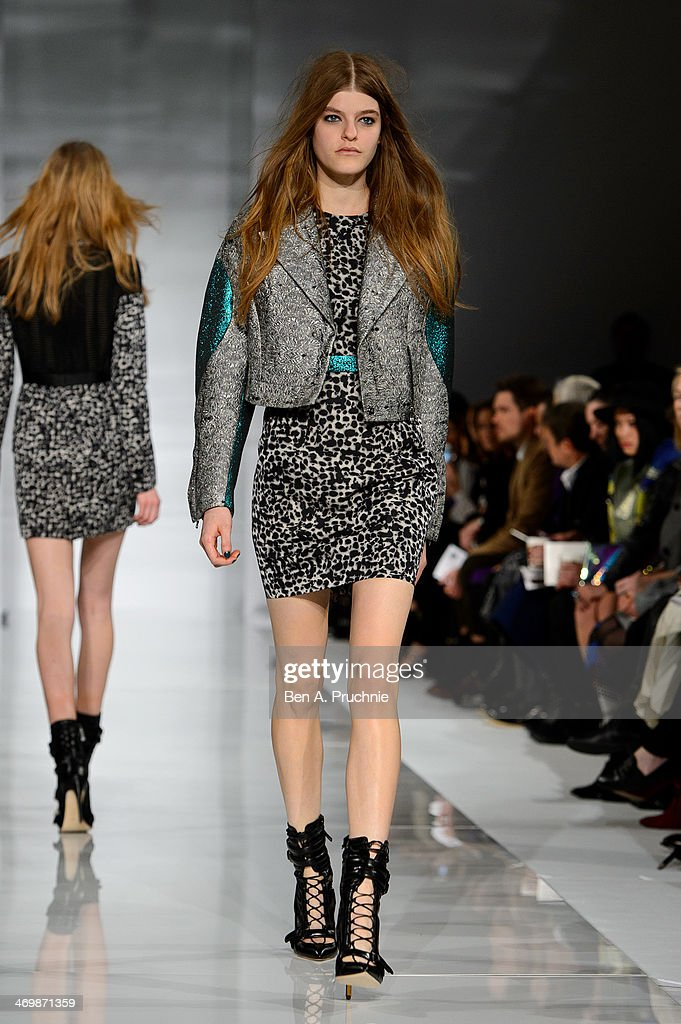 A model walks the runway at the Antonio Berardi show at London Fashion Week AW14 at on February 17 2014 in London England