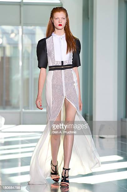 A model walks the runway at the Antonio Berardi show during London Fashion Week SS14 at on September 16 2013 in London England