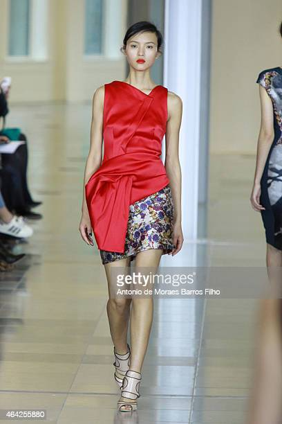 A model walks the runway at the Antonio Berardi show during London Fashion Week Fall/Winter 2015/16 at on February 23 2015 in London England