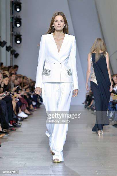 A model walks the runway at the Antonio Berardi show during London Fashion Week Spring/Summer 2016 on September 21 2015 in London England
