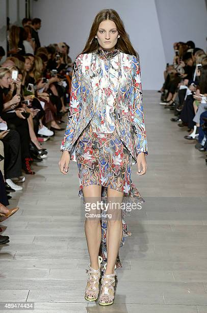 A model walks the runway at the Antonio Berardi Spring Summer 2016 fashion show during London Fashion Week on September 21 2015 in London United...