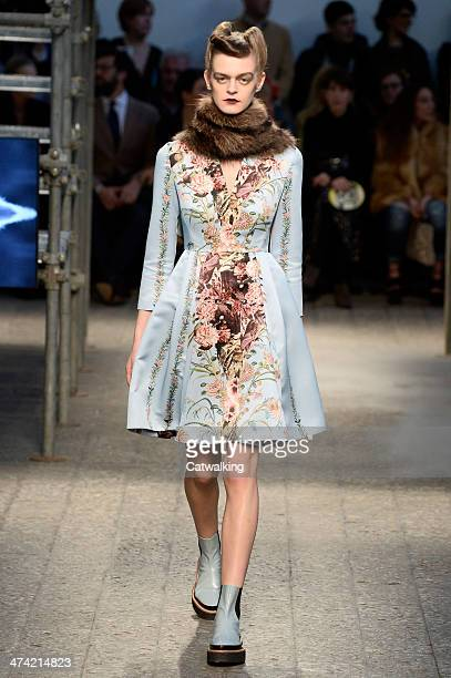 A model walks the runway at the Antonio Marras Autumn Winter 2014 fashion show during Milan Fashion Week on February 22 2014 in Milan Italy