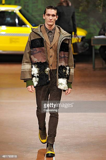A model walks the runway at the Antonio Marras Autumn Winter 2015 fashion show during Milan Menswear Fashion Week on January 19 2015 in Milan Italy