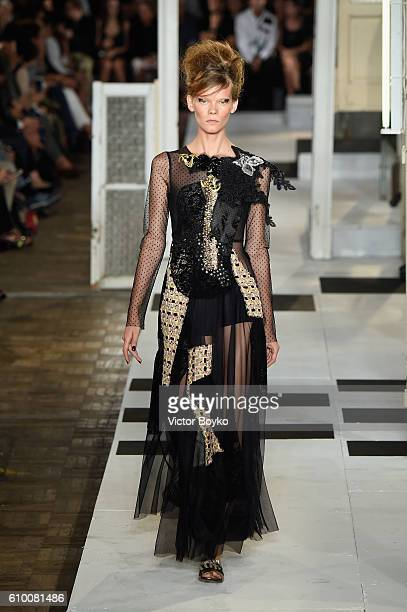 A model walks the runway at the Antonio Marras show during Milan Fashion Week Spring/Summer 2017 on September 24 2016 in Milan Italy