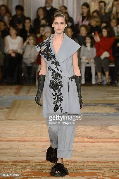 A model walks the runway at the Antonio Marras show during the Milan Fashion Week Autumn/Winter 2015 on February 28 2015 in Milan Italy
