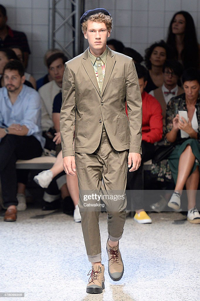 A model walks the runway at the Antonio Marras Spring Summer 2016 fashion show during Milan Menswear Fashion Week on June 22 2015 in Milan Italy
