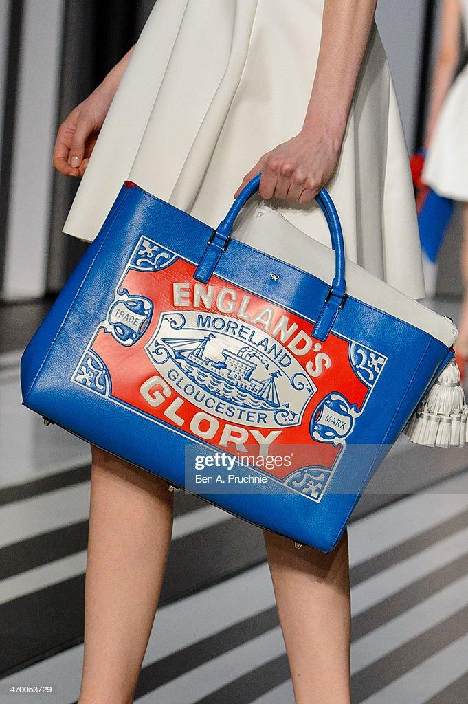 a model walks the runway at the anya hindmarch show at london fashion week aw14 at