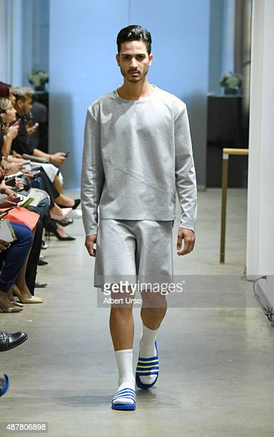 A model walks the runway at the Apollonius show during Spring 2016 New York Fashion Week The Shows at the Prince George Gallery on September 11 2015...