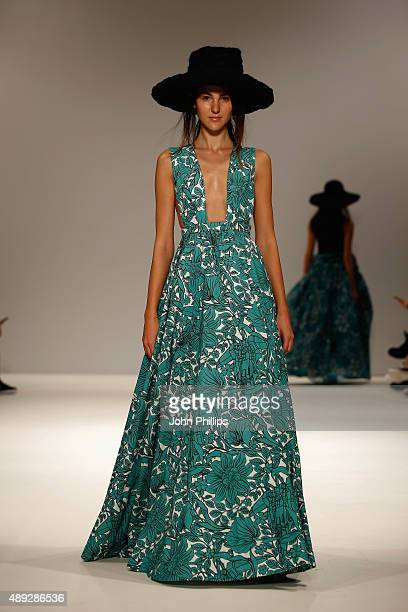 A model walks the runway at the Apu Jan show at Fashion Scout during London Fashion Week Spring/Summer 2016 on September 20 2015 in London England
