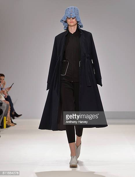 A model walks the runway at the Apu Jan show at Fashion Scout during London Fashion Week Autumn/Winter 2016/17 at Freemasons' Hall on February 21...