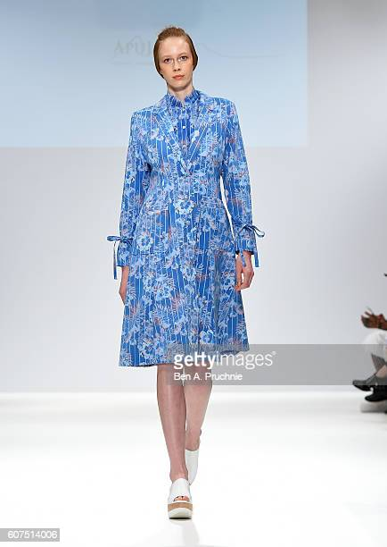 A model walks the runway at the Apu Jan show at Fashion Scout during London Fashion Week Spring/Summer collections 2017 on September 18 2016 in...