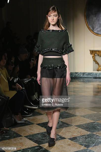 A model walks the runway at the Aquilano Rimondi Show as part of Milan Fashion Week Womenswear Autumn/Winter 2014 on February 22 2014 in Milan Italy