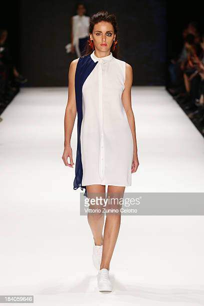 A model walks the runway at the Argande show during MercedesBenz Fashion Week Istanbul s/s 2014 Presented By American Express on October 11 2013 in...