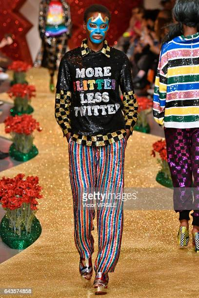 A model walks the runway at the Ashish Ready to Wear Fall Winter 20172018 fashion show during the London Fashion Week February 2017 collections on...