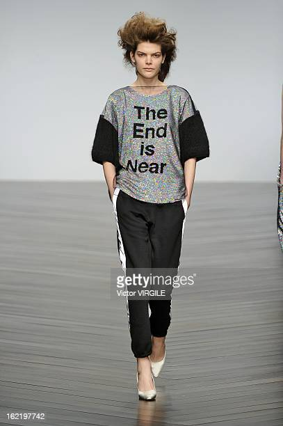 A model walks the runway at the Ashish show during London Fashion Week Fall/Winter 2013/14 at Somerset House on February 19 2013 in London England