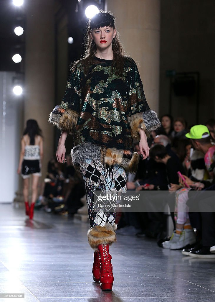 A model walks the runway at the Ashish show during London Fashion Week Fall/Winter 2015/16 at TopShop Show Space on February 24, 2015 in London, England.