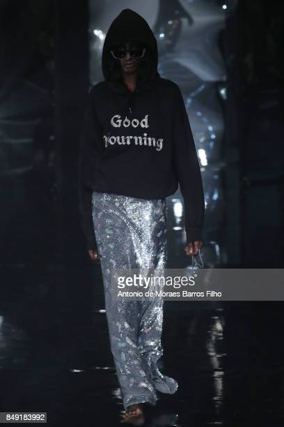 A model walks the runway at the Ashish show during London Fashion Week September 2017 on September 18 2017 in London England